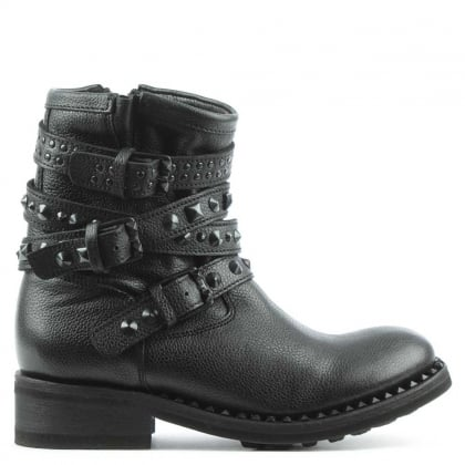 Tattoo Black Leather Destroyer Biker Boot