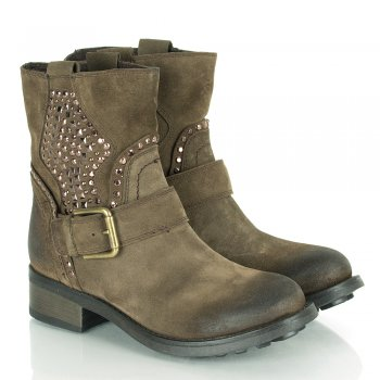 Taupe Gaelic Women's Stud Embellished Ankle Boot