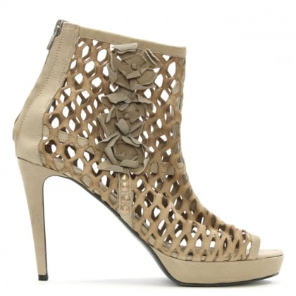 Taupe Leather Laser Cut Shoe Boot