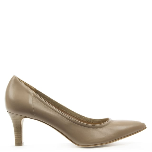 Taupe Leather Mid Heeled Court Shoe