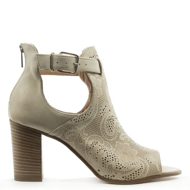 Taupe Leather Peep Toe Cut Out Ankle Boot
