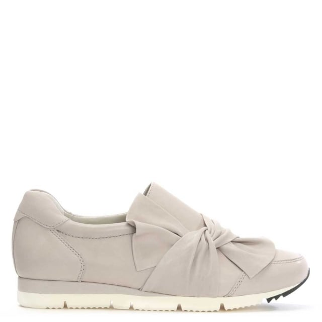 Taupe Leather Slip On Bow Trainer