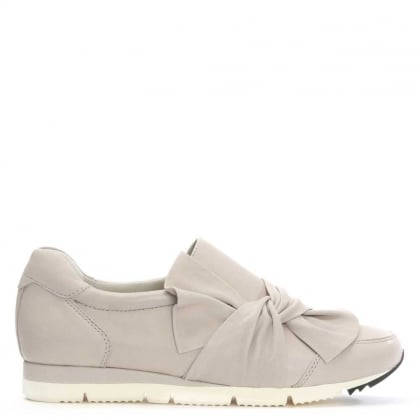Kennel & Schmenger Taupe Leather Slip On Bow Trainer