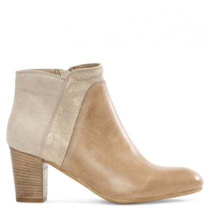 Taupe Leather & Suede Contrast Ankle Boot