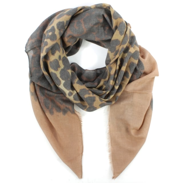 Taupe Leopard Print Cotton Mix Scarf