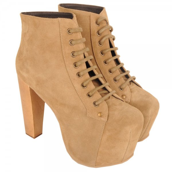 Jeffrey Campbell Taupe Lita Women's Platform Boot