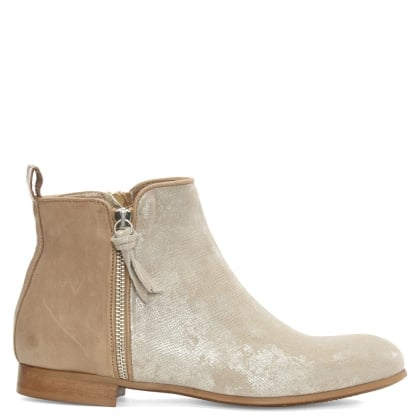 Taupe Metallic Leather Ankle Boot