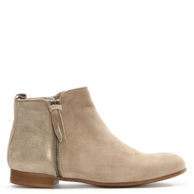 Taupe Metallic Suede Ankle Boot