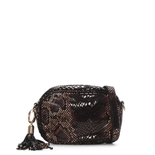 Taupe Reptile Leather Tassel Cross-Body Bag