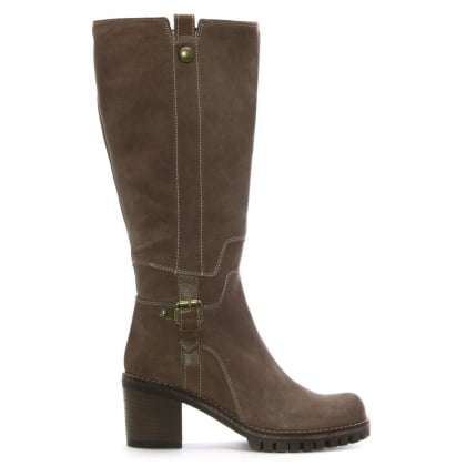 Taupe Suede Contrast Stitch Knee Boots