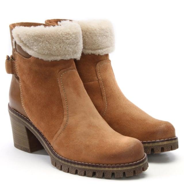 b246cf7177cec Manas Taupe Suede Faux Fur Trim Ankle Boots