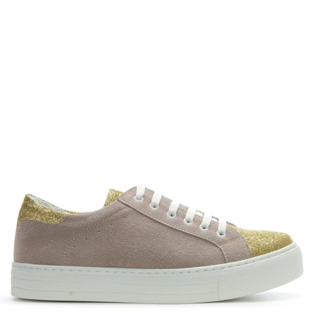 Taupe Suede Glitter Top Cap Flatform Trainers