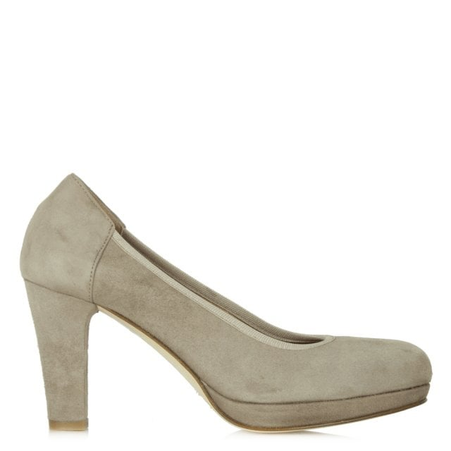 Taupe Suede Low Platform Court Shoe