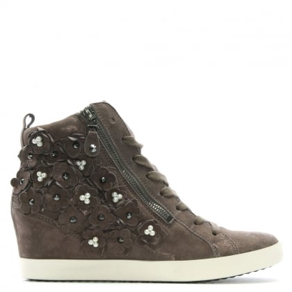 Taupe Suede Pearl Embellished High Top Trainers