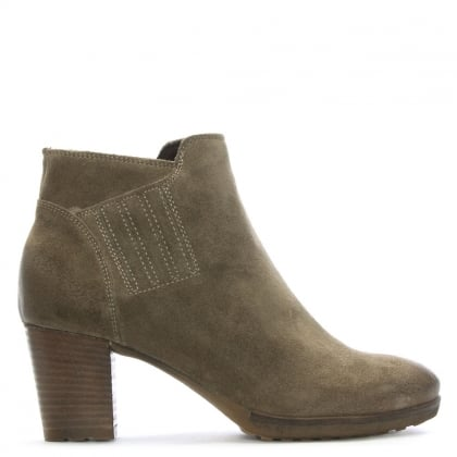 Taupe Suede Stacked Heel Ankle Boots