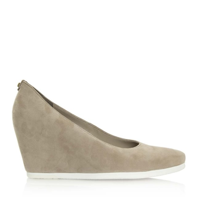 Taupe Suede Wedge Court Shoe