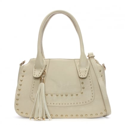 Taupe Tassel Studded Day Bag