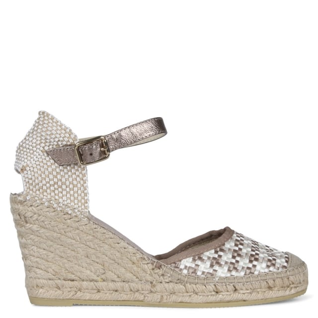 Taupe Woven Wedge Espadrilles
