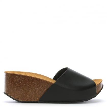 Tavernola Black Leather Wedge Mule