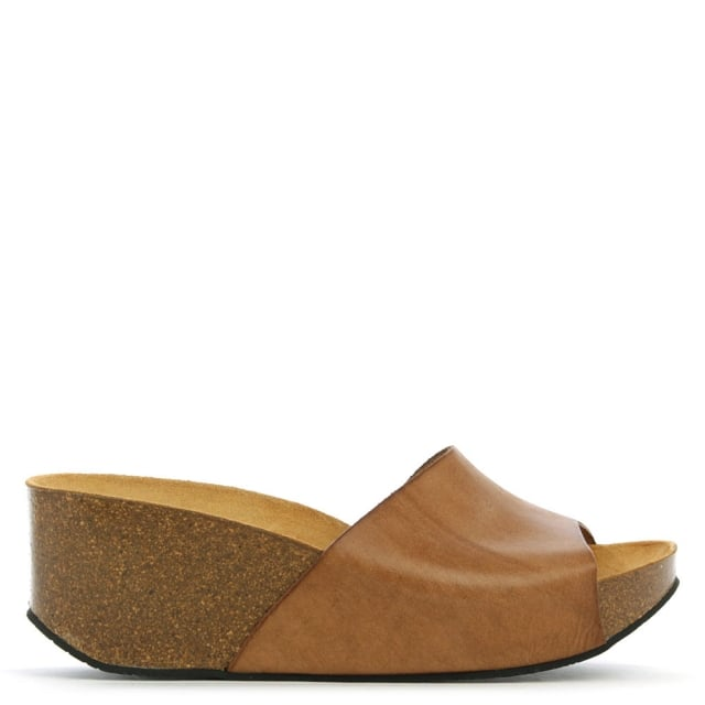 Tavernola Tan Leather Wedge Mule