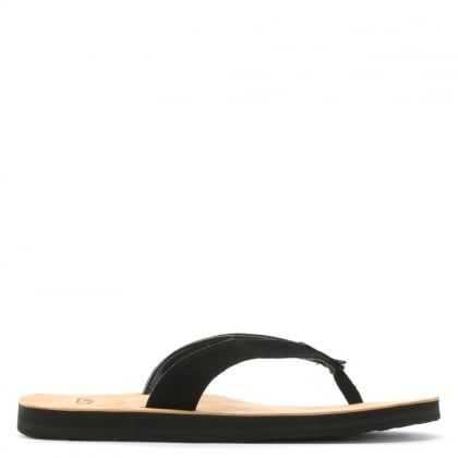 Tawney Black Leather Toe Post Flip Flops