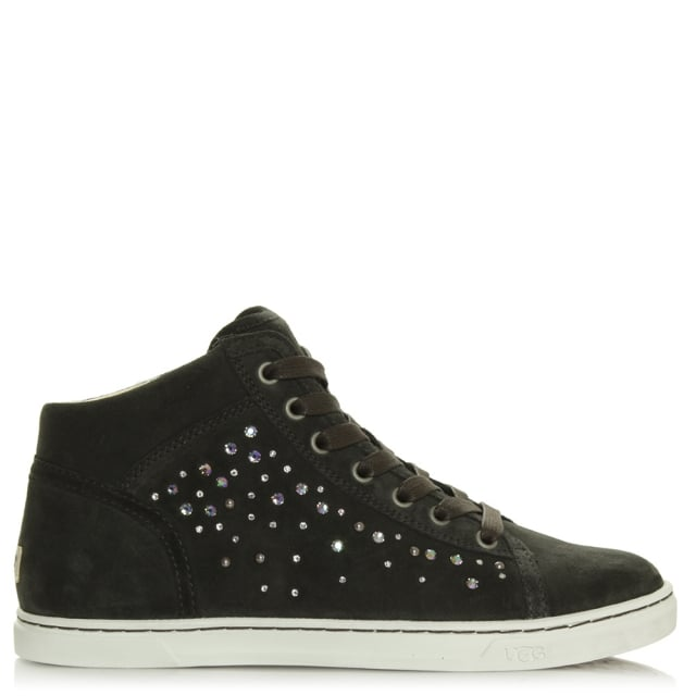 Taylah Crystals Grey Lace Up High Top