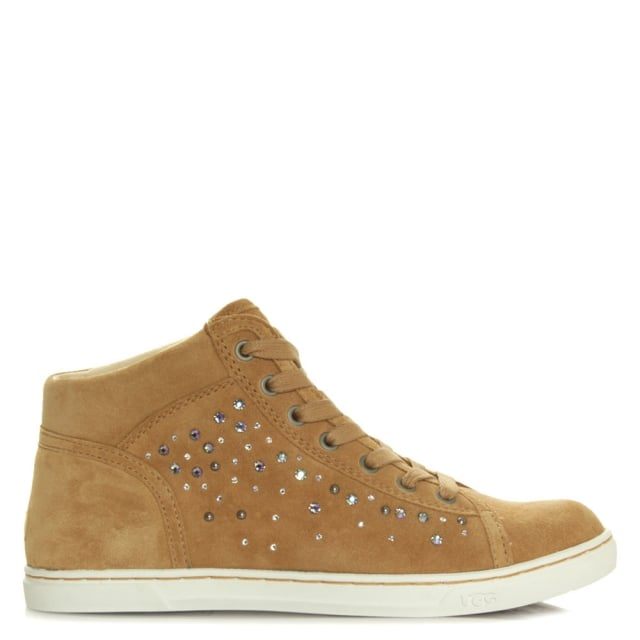 Taylah Crystals Taupe Lace Up High Top