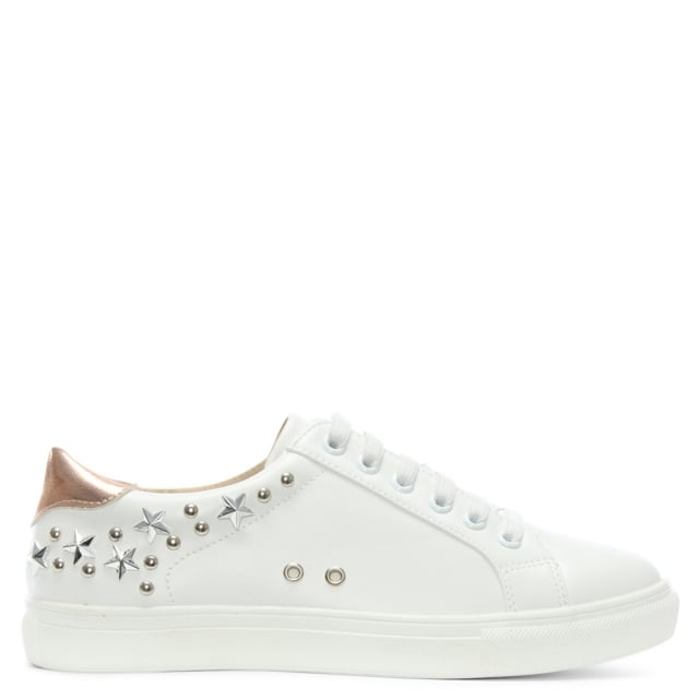 Tecton White Star Embellished Sneakers