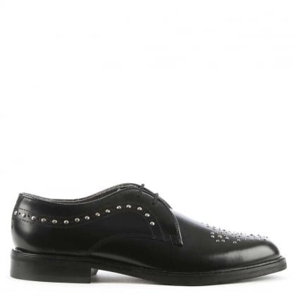 Hudson Tegan Black Leather Studded Lace Up Shoe