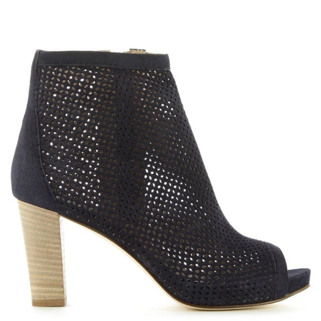 Temir Perforated Navy Suede Peep Toe Ankle Boot
