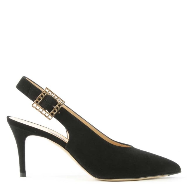 Tereza Black Suede Sling Back Court Shoe