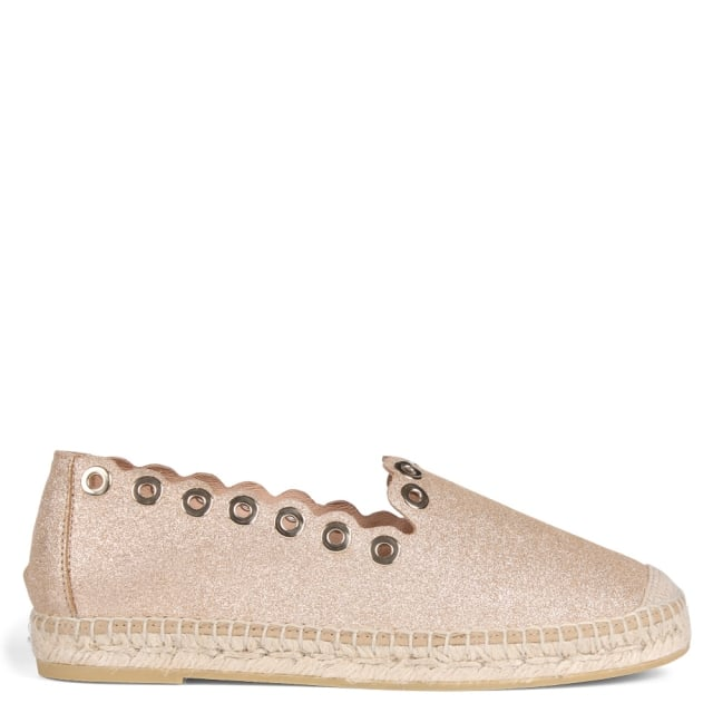 Tern Gold Metallic Leather Grommet Embellished Espadrilles