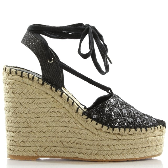 Tessa Black Wedge Espadrille Sandals