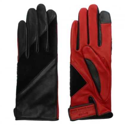 Tetsuo Black & Red Leather Contrast Gloves