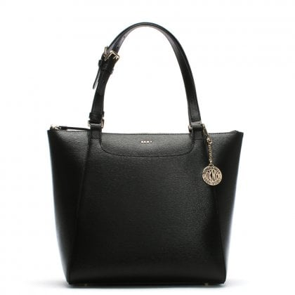 Textured Black Leather Tote Bag