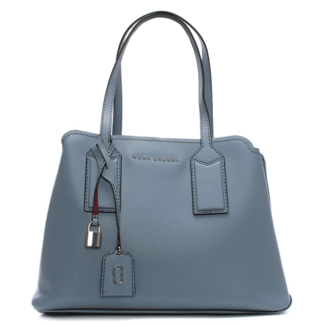 The Editor Light Blue Leather Tote Bag