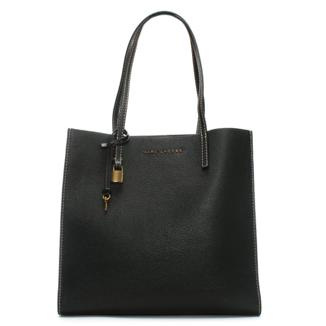 The Grind Black Leather Unlined Tote Bag