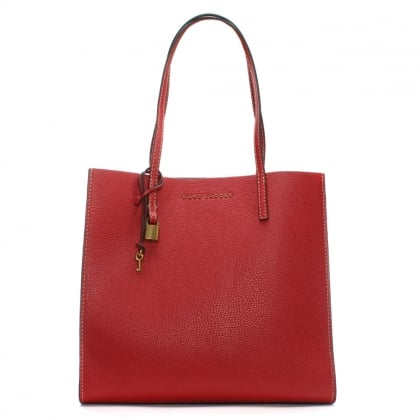 The Grind Red Leather Unlined Tote Bag