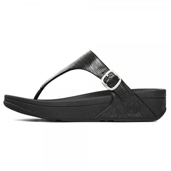 e3e18f1e3dc3c0 FitFlop™ The Skinny™ Black Croc Print Metallic Leather Sandal