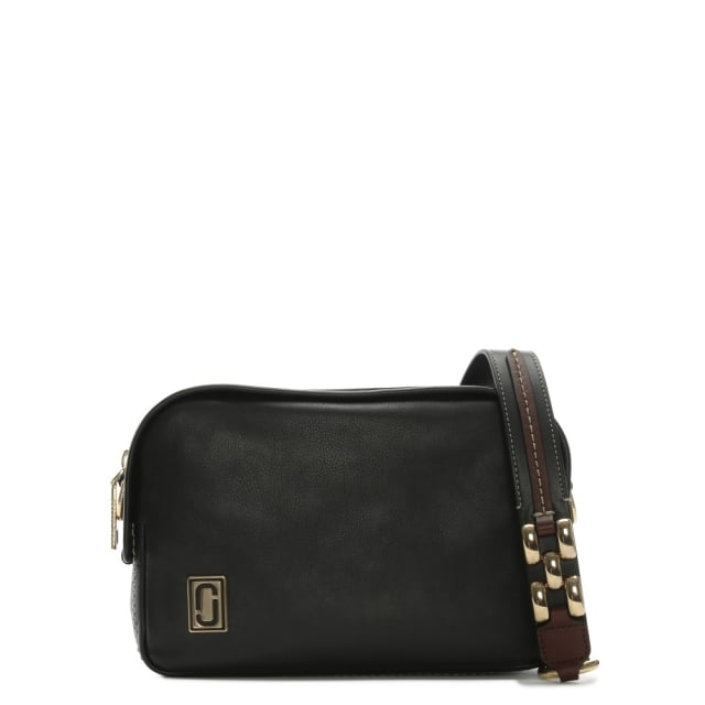 The Squeeze Black Leather Zip Around Cross-Body Bag