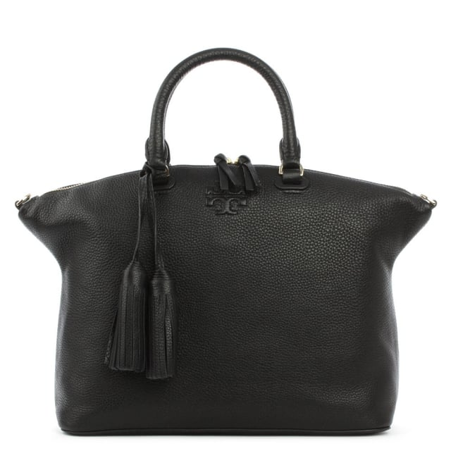 Thea Black Leather Medium Slouchy Satchel
