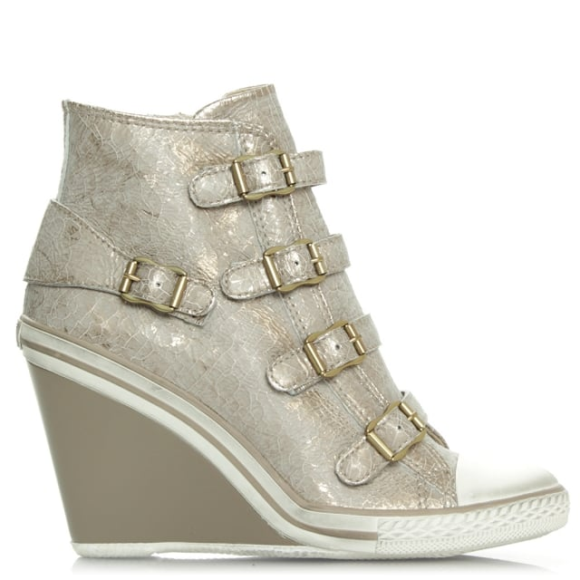 Thelma Cracked Gold Leather Hi-Top Wedge Trainer