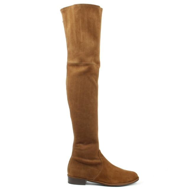 Thighscraper Tan Suede Gold Zip Over The Knee Boot