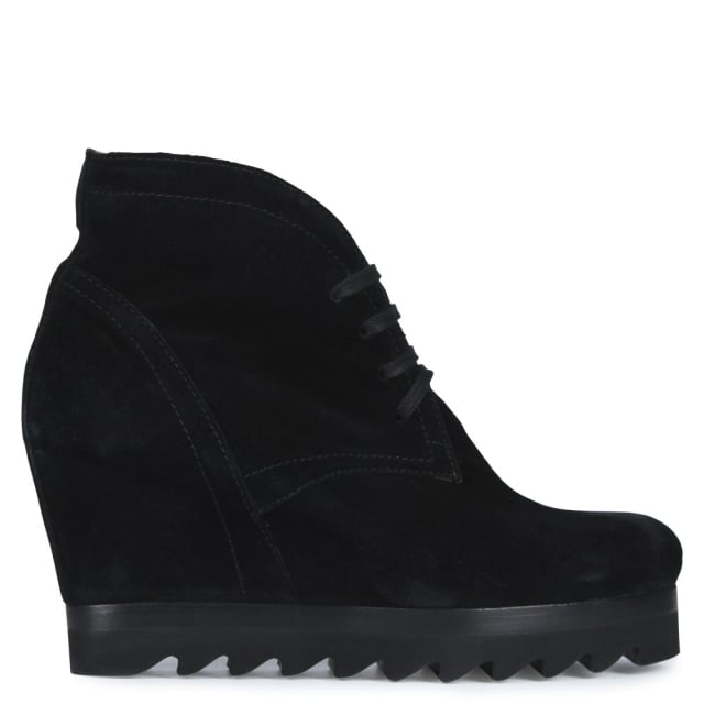 Thorin Black Suede Cleated Wedge Ankle Boots