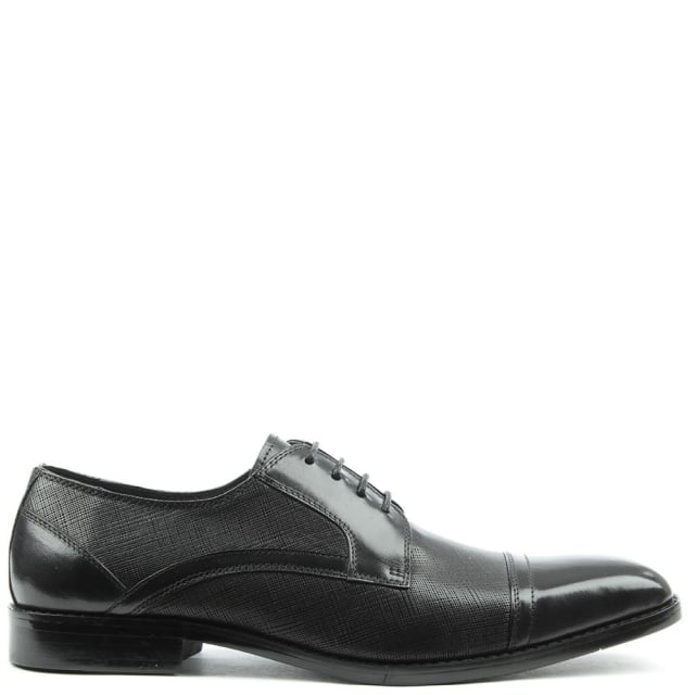 Thornford Black Leather Embossed Lace Up Shoe