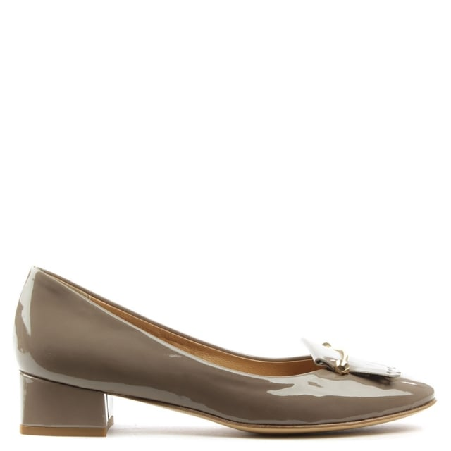 Thousand Palms Beige Patent Leather Fringed Pump