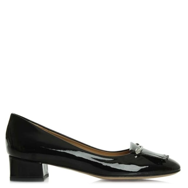 Thousand Palms Black Patent Leather Fringed Pump