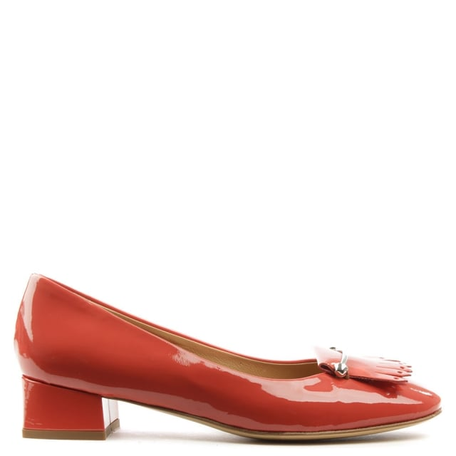 Thousand Palms Red Patent Leather Fringed Pump