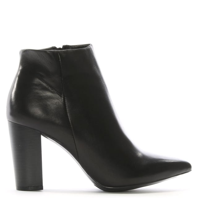 Tiana Black Leather Pointed Toe Ankle Boots