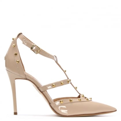 Tiff Beige Patent Studded Court Shoe